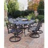 Biscayne 7 Piece Outdoor Dining Set With Table And Six Swivel Arm Chairs,cast aluminum black finish.