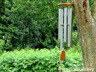 Aluminum metal tube windchimes with wooden top and striker hung on tree in garden, aluminum tube wind chimes, large metal wind chimes.