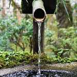 Bamboo water fountain tube pouring into bowl, water fountains.