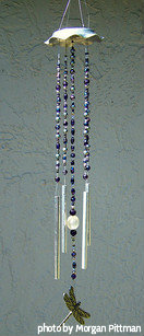 Aluminum top beaded string (blue, purple )with a aluminum chimes and dragonfly striker, dragonfly beaded wind chimes, aluminum wind chimes.