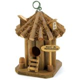 Bed and Breakfast Hanging Wooden Garden Bird House,Crafted from wood with a log cabin finish.