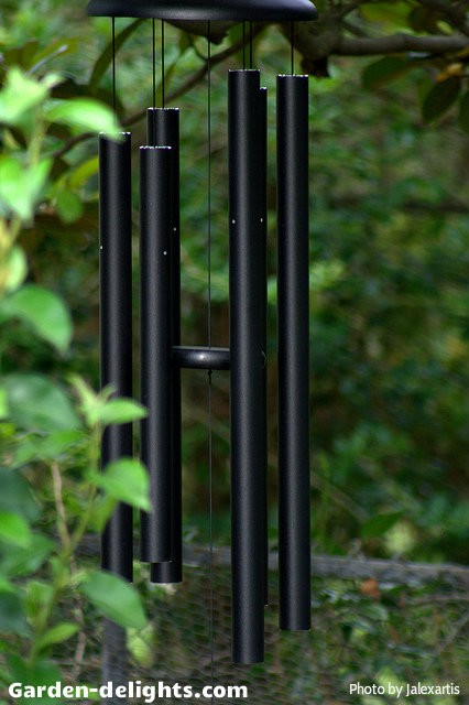 Black finish long tube aluminum windchimes with black round disc striker Hung in a tree, large musical anodized aluminum ash amazing Grace windchimes, wind music, garden dreams, pretty windchimes, whimsical windchimes, outdoor windchimes, windchime Sun catchers.