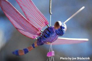 Blue dragonfly with pink wings wind chime hanging on string, dragonfly windchimes, hand-painted windchimes.