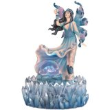 Blue Ice Fairy with Orb on Winding River Water Fountain Statue.