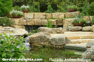 Building a backyard pond design size pond building garden for Ornamental pond waterfall