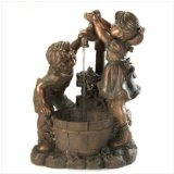 Bronze Look Children Fun And Play Water Garden Water Fountain: Weathered finish adds instant antique appeal.