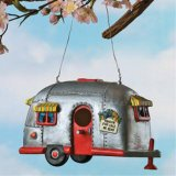 Small Camper birdhouse airstream trailer hanging from tree, unique birdhouses, decorative garden birdhouses.