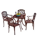 5-peice Cast Aluminum Outdoor Dining Set,Dark brown colors to match any outdoor decor.