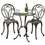 Windsor Dark Gold Cast Aluminum 3-piece Bistro Set:1 Table and 2 Chairs.