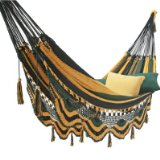 Deluxe Mayan Hammock Tropic Blue-Green-Yellow Stripe:Weight Capacity: 400 lbs.
