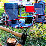 Folding Outdoor Furniture, RV trailer equipped, camping equipment, folding tables, folding furniture