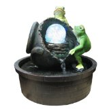 Frogs with Broken Jar Color LED Lights Indoor Water Fountain:Poly resin made,L.E.D lights.