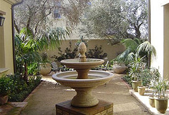 outdoor water fountains, garden water fountain ideas,Garden fountain in courtyard.