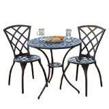 Glenbrook Garden outdoor furniture Bistro Set,Includes 1 table and 2 chairs made of genuine, cast aluminum.