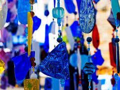 Blue glass wind with different shapes.Glass wind chimes, Unique wind chimes.