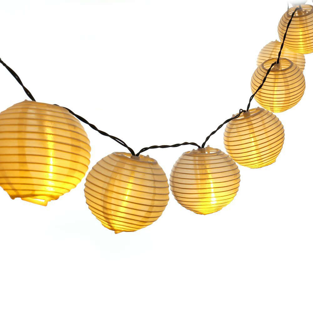 Garden lanterns decorativeuniqueoutdoor lighting garden delights gold round ball beehive string lanterns hanging in a straight lineunique shaped paper lanturns mozeypictures Gallery