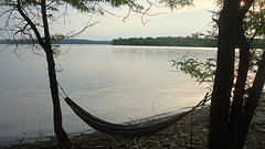 camping hammocks,backpacking hammock,Hammock hanging in trees by lake.