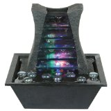 ORE International Indoor Square Table Fountain, 8-1/4-Inch:Dark stone color with textured finish.