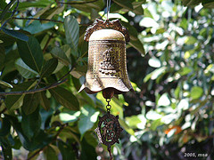 Small bell Japanese wind chimes on tree, feng shui wind chimes, unique Japanese wind chimes.