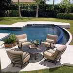 Patio furniture with four chairs and table beside pool, patio furniture, patio accessories.