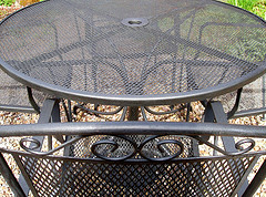 Outdoor Patio Furniture Close Up Picture Of Black Metal Mesh Set With
