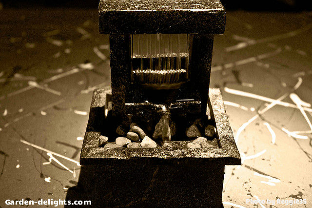 Mini Stone Water Fountain With Two Stone Pillars And Eight Top Crossing  Stone Like Stonehedge With; Tabletop ...
