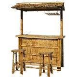 3-Piece Outdoor Bamboo Tiki Bar Set,Handcrafted bamboo construction, perfect for indoor and outdoor use.