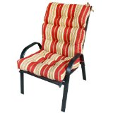 Outdoor High Back Chair Cushion with red and white stripes,UV-resistant outdoor fabrics 100-Percent polyester.