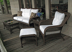 Outdoor Wooden Furniture, outdoor resin wicker couch and chair with coffee table on porch.