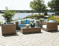 Outdoor Wicker Furniture,All Weather Wicker Furniture, wicker furniture set with coffee table in front of Lake.