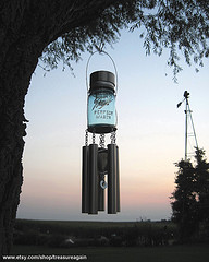 Mason jar windchimes with stainless steel tubes with sunset, garden windchimes, outdoor decorative windchimes.