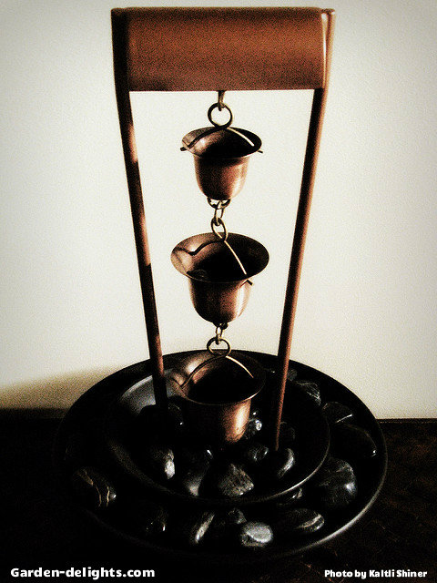 Tabletop Copper Rain Chain Water Fountain With Three Bell Cups Hanging Down  From Brass Hanger Into