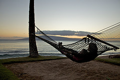 Rope hammocks,nylon rope hammocks,Rope Hammock with sunset by ocean.