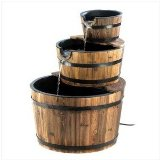 Rustic Three Tier Apple Barrel Outdoor Garden Water Fountain:Generously sized fountain with genuine wood trim adds bountiful rustic flair to your outdoor Garden.