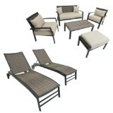 Seating and Lounger Set Patio Furniture, 7-Piece,durable cast aluminum frame powder coated in matte black finish,Uv, weather and color fast fade resistant.