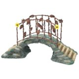 Small plastic fairy bridge looks like stone with rustic bronze and railings, miniature fairy bridges, fairy garden collection.