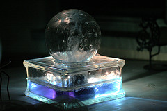 Small glass ball outdoor ice looking water feature with blue, purple lighting, garden water fountains, glass water fountains..