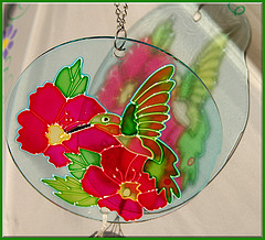 Glass windchimes with painted red Bird and flower,Garden wind chimes,Colored Glass Wind Chimes.
