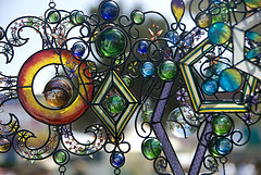 Stained-glass windchimes with metal artwork. Stained Glass Wind Chimes,Unique wind chimes.