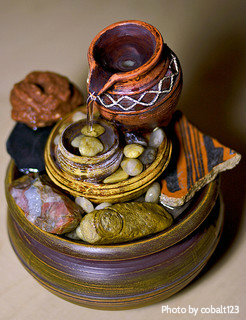 Small Stone And Pottery Tabletop Fountain (orange, Yellow, Brown, Red) With