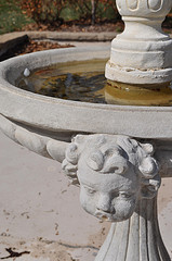 Concrete water fountains, garden fountains,bowl fountain with small head on side.