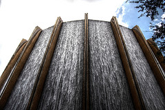 Outdoor Waterfall Wall Fountain With Cement Pillars Separating Each  Waterfall, Large Wall Water Fountains,