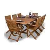 Teak Hamburg 9-Piece Teak Rectangular Dining Set.