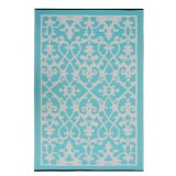 Venice Indoor/Outdoor Rug, Cream and Turquoise:Woven from straws made up of recycled plastic.