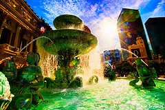 Water fall with multi colors and sun,Wholesale water fountains,wholesale garden fountains.
