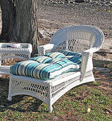 Martha Stewart Outdoor Furniture, White Wicker Chase Chair And An Table  With Blue Stripe Cushion
