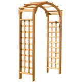 Wooden garden arbor with arch and lattice down the side, wooden garden arbor.