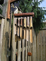 Bamboo music chimes hung on fence,Wooden wind chimes, bamboo wind chimes.
